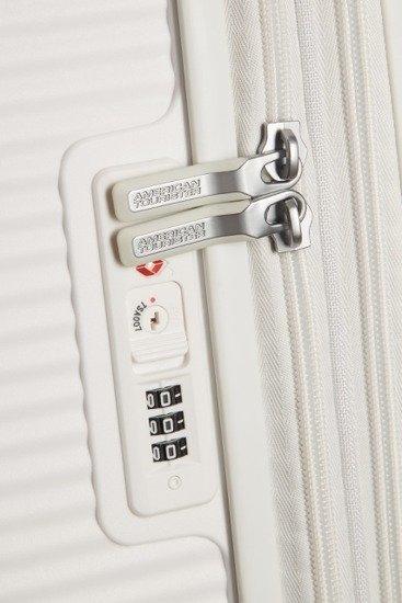 Walizka kabinowa American Tourister Soundbox 55 cm powiększana biała
